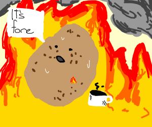 Potato in fire saying it's fone