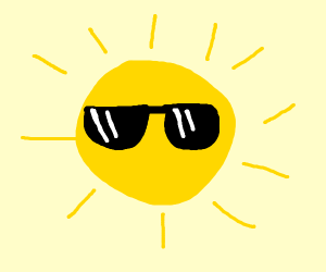 Sun wearing a sunglasses