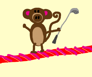 Monkey with a golf club walking in Twizzler F