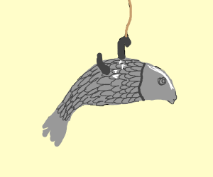a fish in the water who's being caught
