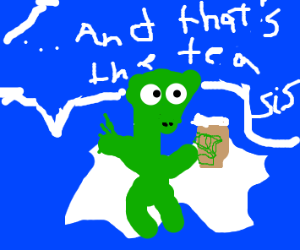 grasshopper sipping coffee sitting on a cloud