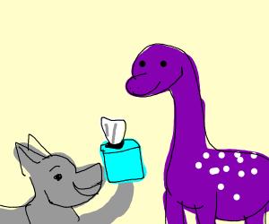 Wolf being polite to a sick dinosaur
