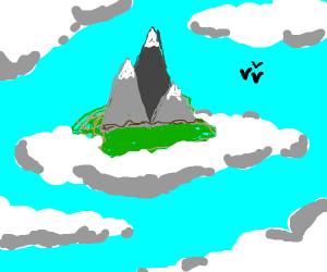 Mountains in an island