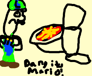 Mario clogged the toilet
