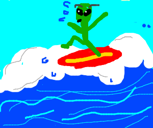 scared green alien tries surfing