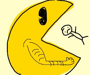 yellow creature eats man