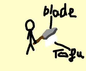 a black stickman chopping tofu with a blade