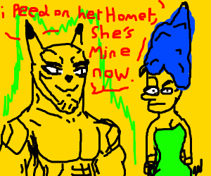 buff pikachu and marge simpsom in love