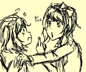 Sayori bullies Natsuki