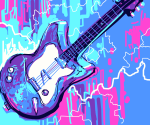 blue and purple guitar