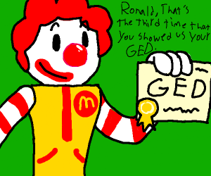 Ronald McDonald gets his GED