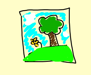 A painting of a tree and a yellow flower