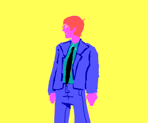 Suited Pink Man in a Yellow Void