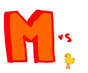 M vs baby chick