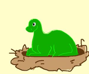 Hadrosaur on a nest
