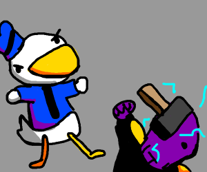 Donald Duck went for the head