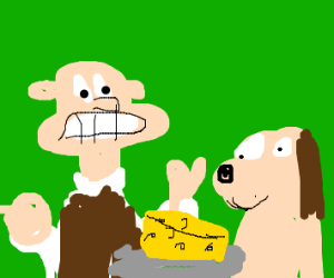 wallace and gromit are eating cheese
