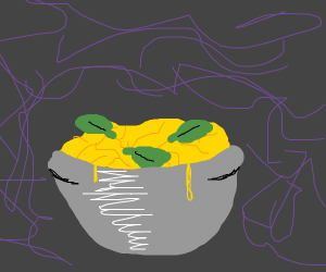 Bowl of pasta with basil leaves
