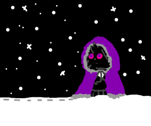 Purple wizard in the snow