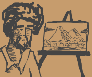 Bob Ross painting a mountain