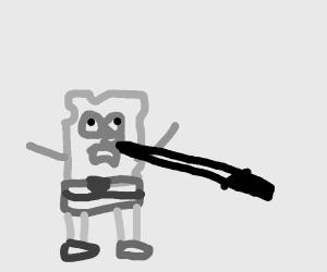 Spongebob got stabbed in the nose with sword