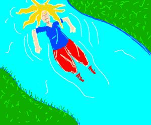 Depressed girl in river