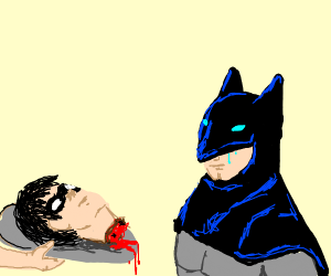 Young Alfred serving Robin's head to Batman