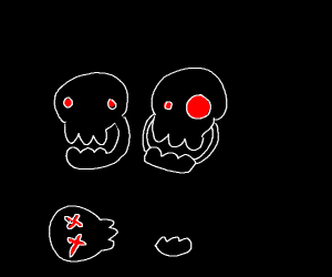 three skeletons with red eyes