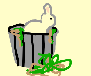 A trash bunny with trash leaking out