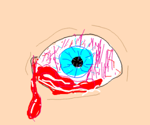 Close up crying blood