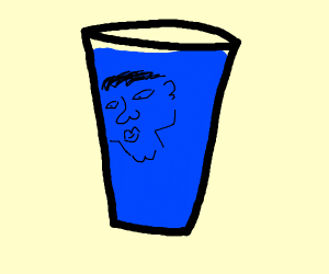 Glass of water with a face