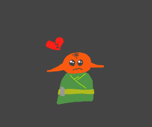 Orange Yoda is heart broken