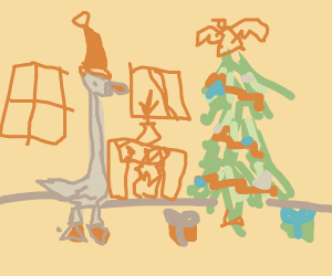 extremely long neck-ed duck at christmas