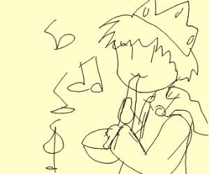 King playing saxophone