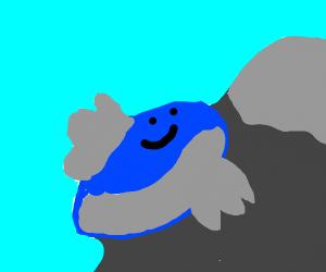 Whale climbing a mountain