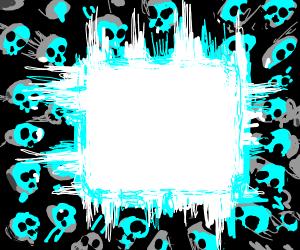skulls surrounding blue cube