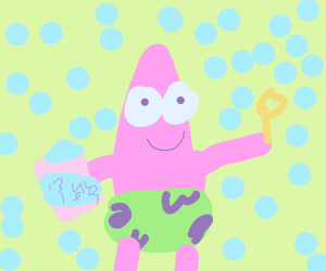 Patrick blows bubbles