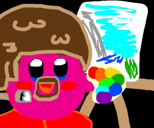 Hey! It's Kirby as Bob Ross!