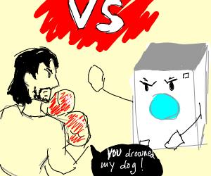 man fighting washing machines