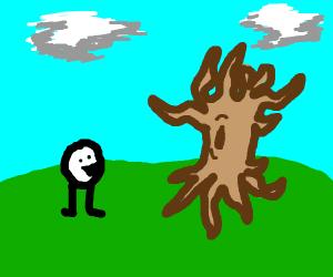 Happy face likes dead tree