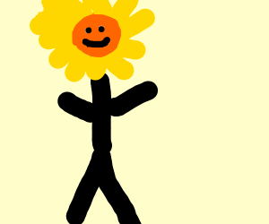 Man with smiley flower for head