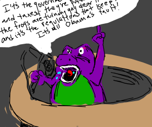 Barney the dino is freaking out about tax