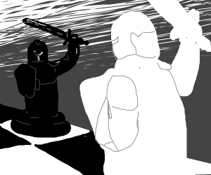 2 Chess knights fight