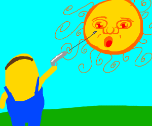 Minion shoots at the sun.