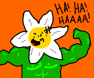 laughing buff flower dude