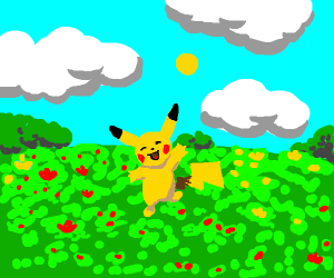 Cute pikachu in a field