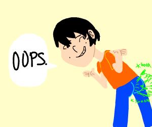 man farts, says oops