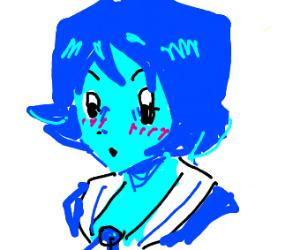 blue anime girl blushing
