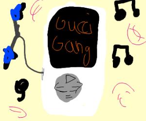 gucci gang playing on ipod
