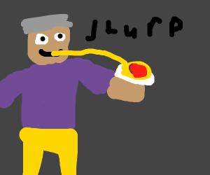Old man slurps spaghetti